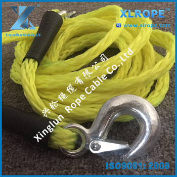 "1/2"" x 14' bright yellow pp braid car tow rope/ trailer rope with hook at both end"