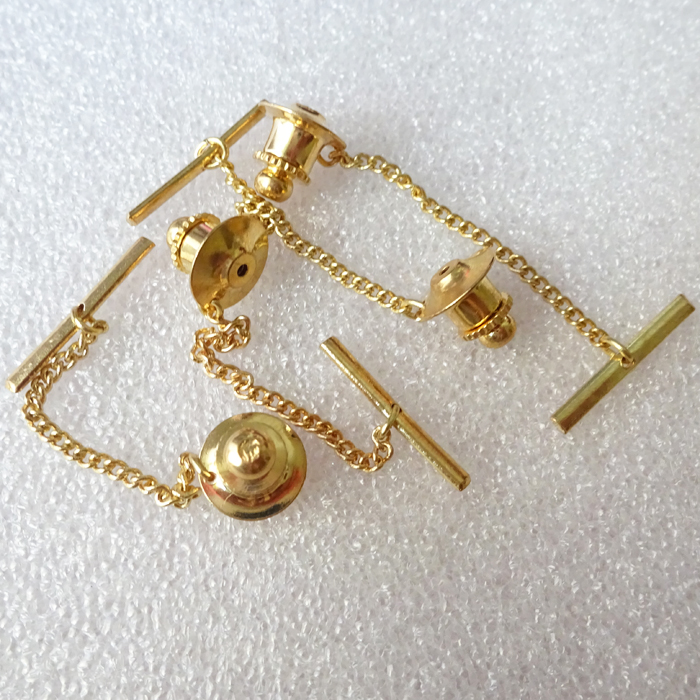 Gold Plated Brass Flat Lock Back Clutch Pin Backs With Button Chain
