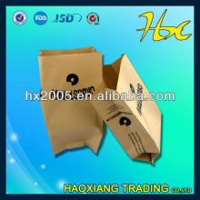 brown kraft paper packing printing manufacture side gusset bag/paper bag with logo print