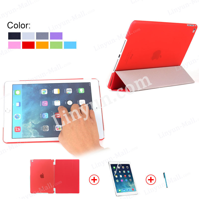 anti-scratch matte PC hard back case magnetic smart cover case for iPad air 2 with screen protector and pen