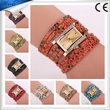 Free Shipping 2016 Fashion Casual Designer PU Leather Wristband with Rhinestone Alloy Squared Quartz Wrist Watch For Women WW051
