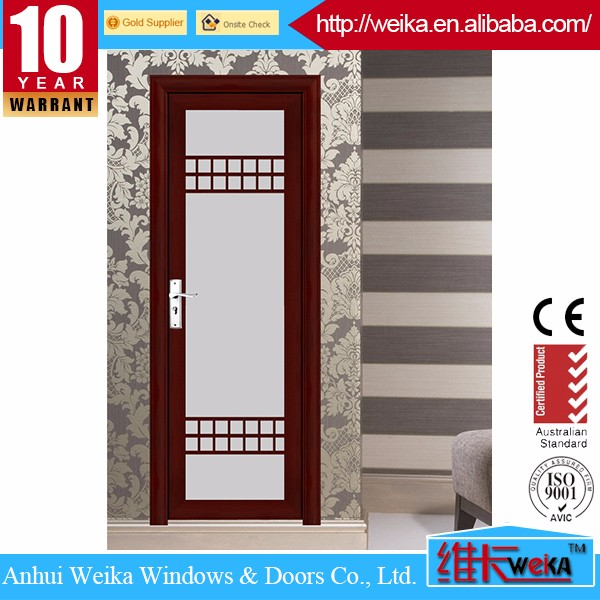 Commercial frosted glass water resistant exterior aluminium bathroom doors