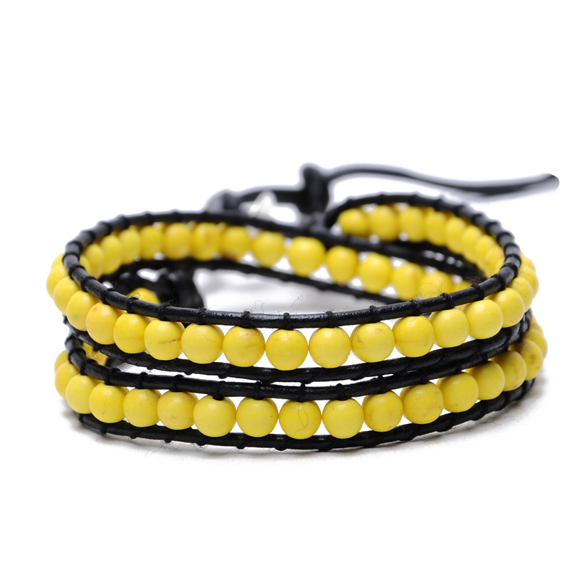2015 New Summer Style Bohemia Yellow Opal Beads Leather Chain Bracelet & Bangle for Women Men Bracelets Bohemia Bijoux