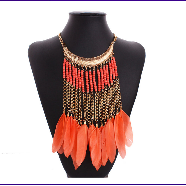 oversize small beads beaded feather necklace for tribal