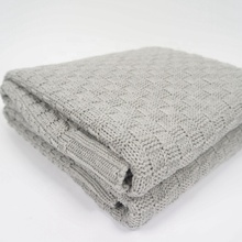 100% Cotton hemp grey knitted throw blanket with coarse needlepoint thread Blanket for sofa car home decorates120*180cm