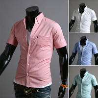 Summer new ribbon decoration simple short-sleeved shirt solid color casual shirt slim fit 9075
