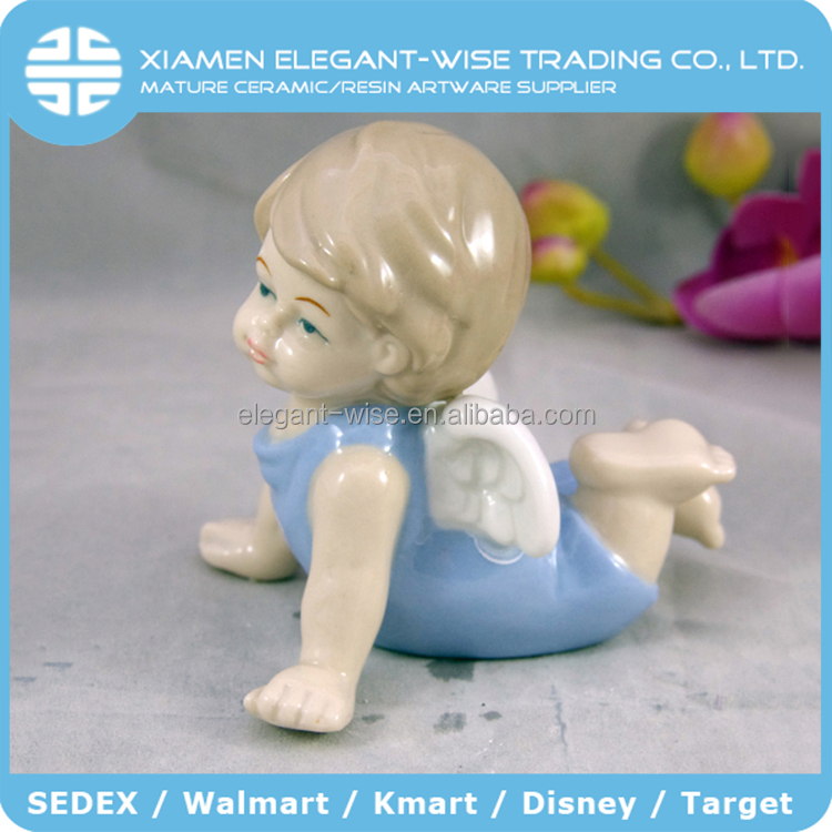 Made in china boy blue ceramic figurines to paint