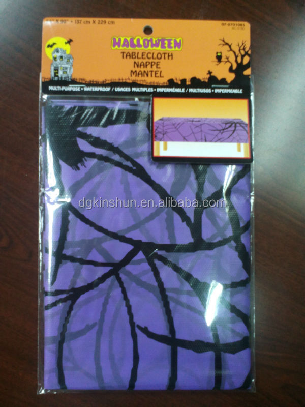 LDPE purple halloween spider web design plastic table cover