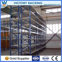 Steel structure tear drop pipe Logistic Equipment Heavy Duty warehouse push back storage racks