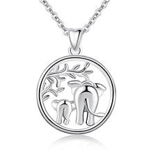 925 Sterling Silver Lucky Elephant Tree of Life Forever Love <strong>Pendant</strong> 18'' Necklace, Gift for Women Mom