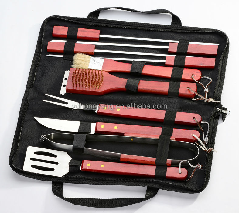 Hot sell functional red wooden handle 7 pcs stainless steel bbq tools set in bag