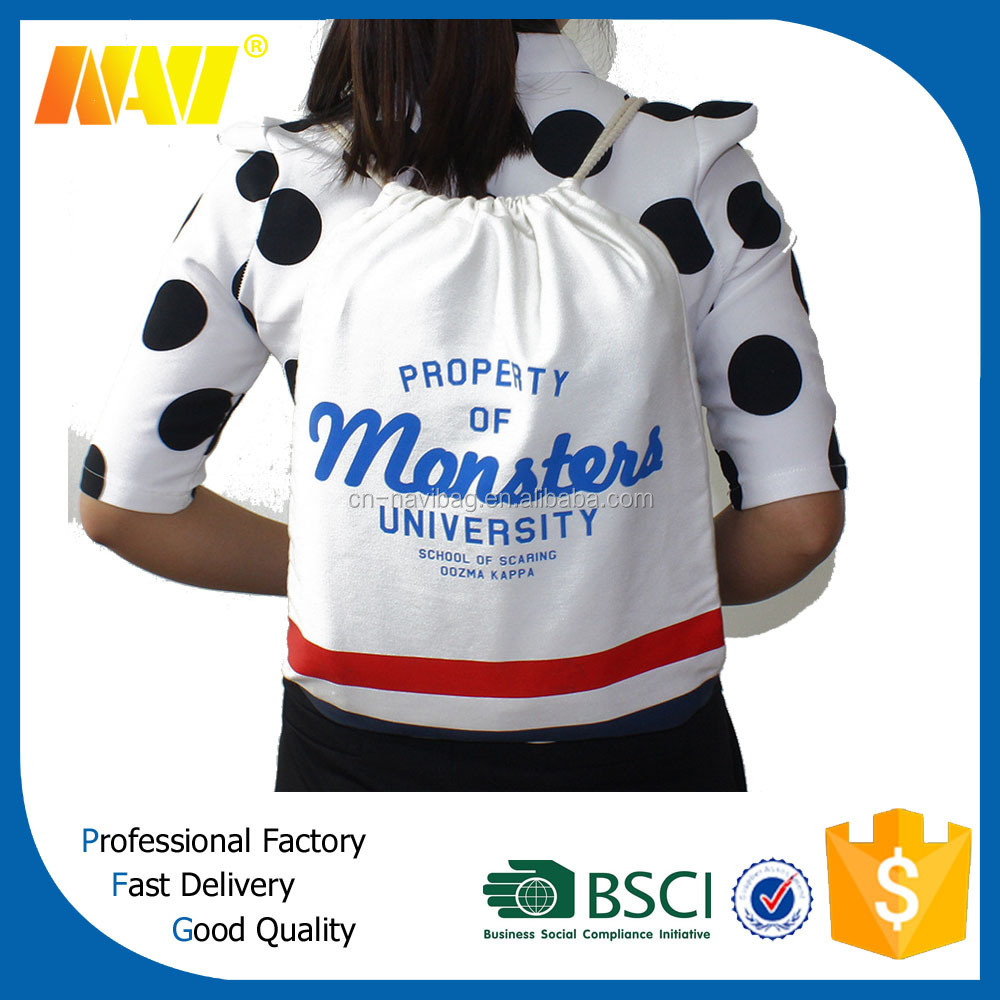 custom promotional cheap cotton canvas drawstring bag