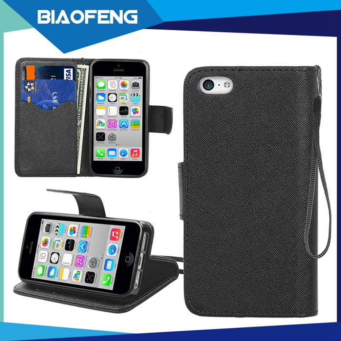 Business compatible wallet style flip pu leather holster phone case with credit card slot for iphone 5/5s/5se