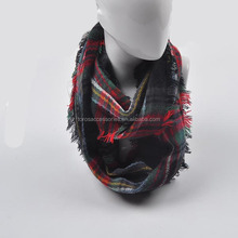 plaid check infinity tube scarf beautiful lady woven snood