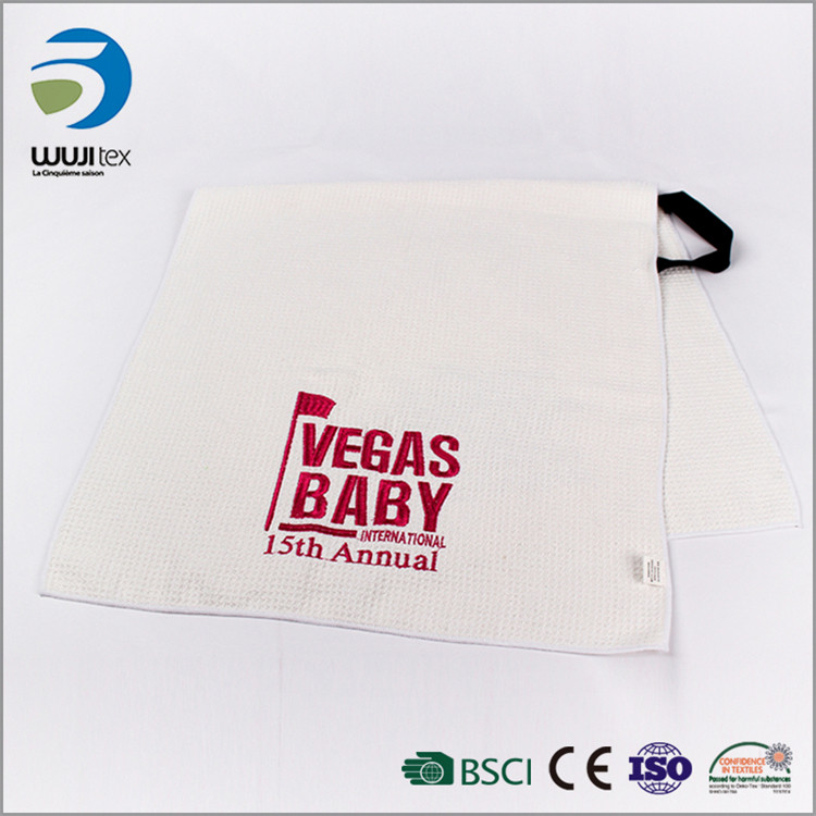 With a letter printed soft microfiber white sport towels