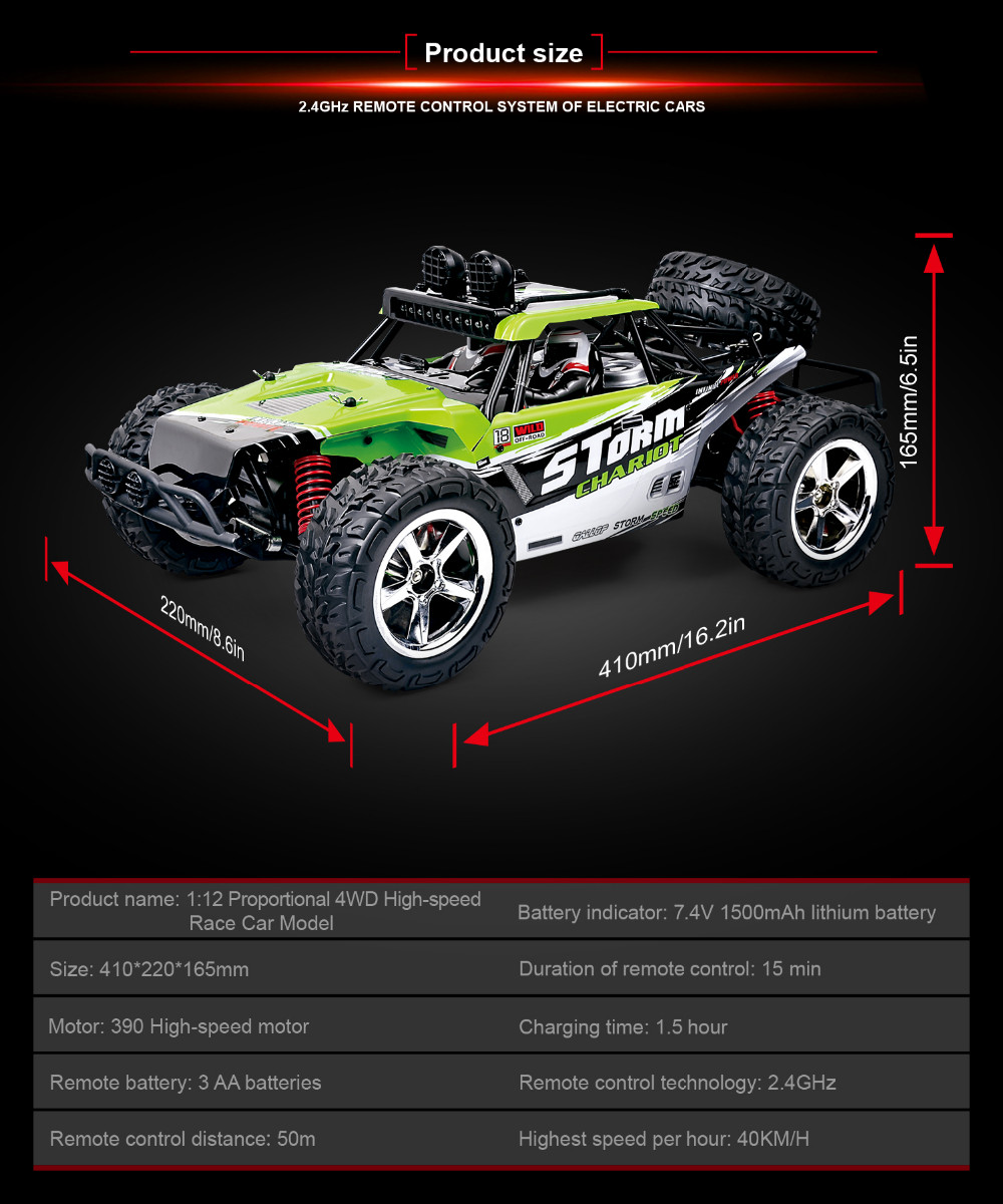 Full-scale remote control car 1:12 2.4GHz high-speed - Desert Eagle Cross Country