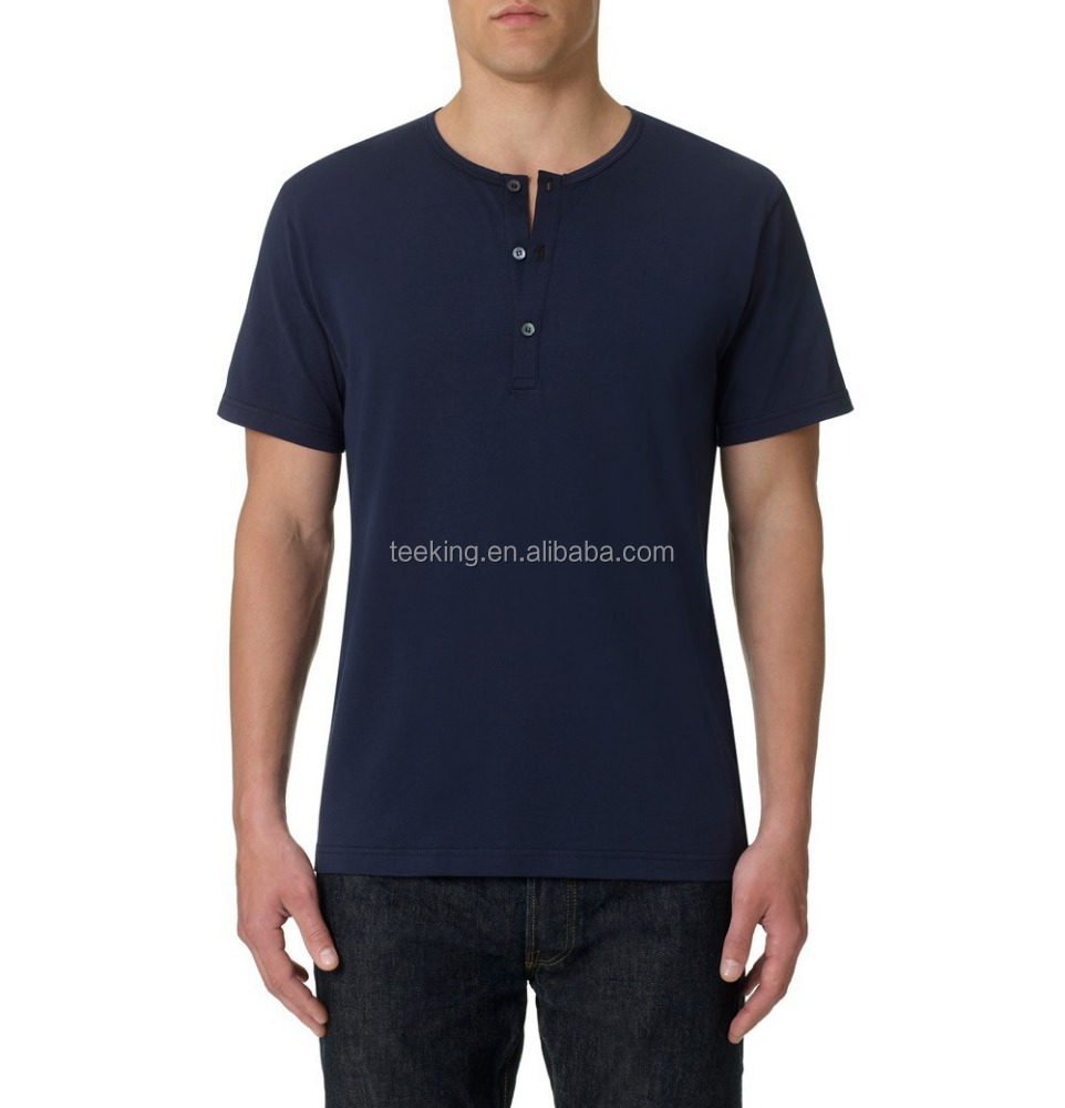 wholesale 100% cotton short sleeve henley t shirt