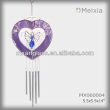 MX060004 wholesale wind bell with tiffany style stained glass angel heart shape decoration and metal wind bell pipe