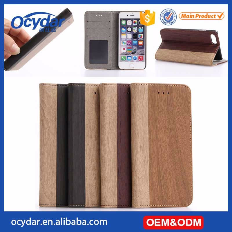 Hot Selling High Quality Wooden Pattern Leather Mobile Phone Case for iPhone 7