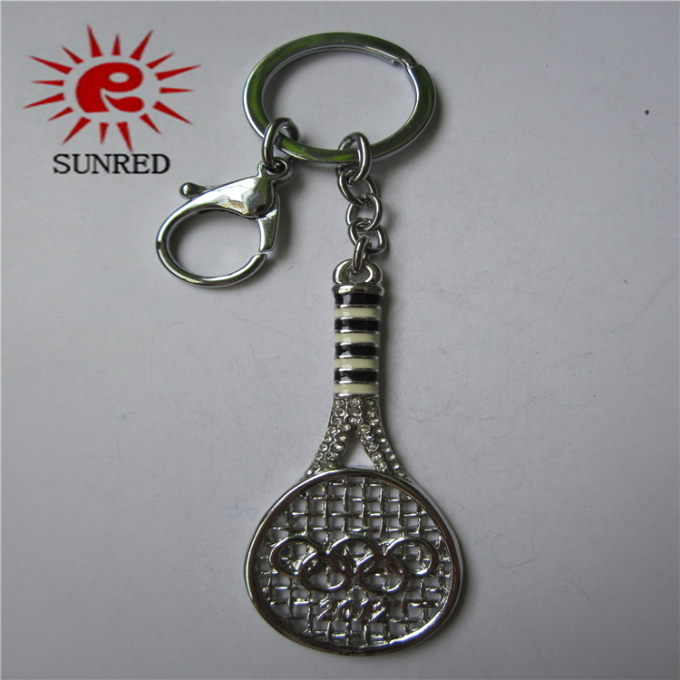 Custom tennis racket shaped metal keychain