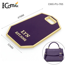 Custom Metal Handbag Hang Tag And Plates With Letter Logo