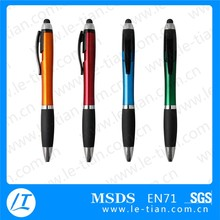 2015 New 2 in 1 Plastic Touch Stylus Ballpoint Pen With Rubber Grip