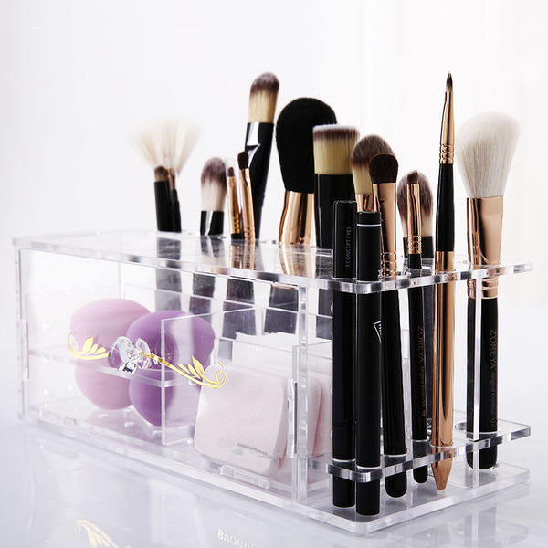 Customized Clear Acrylic Counter Makeup Organizer Cosmetic Display