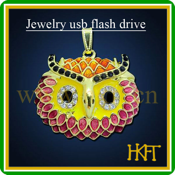 Hotsell mini owl shape jewelry necklace usb flash drive,OEM usb memory with 100%full capacity