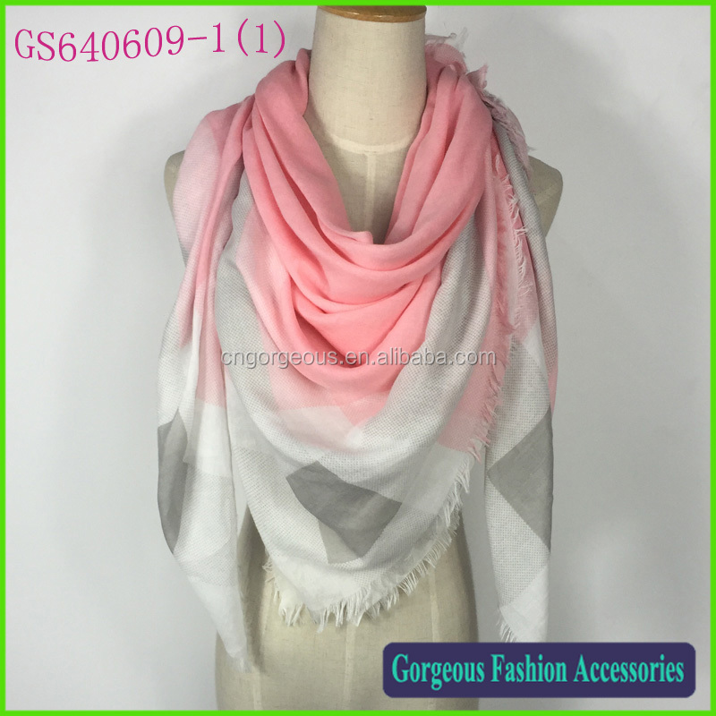 Very beautiful light weight bright color plaid TR cotton wrap shawl scarf wholesale