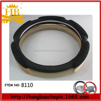 New design good material 3D genuine leather car steering wheel cover
