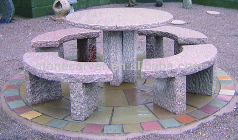 New Granite Outdoor Table&Bench