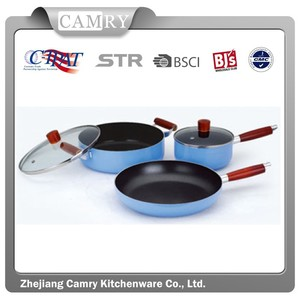 5pcs Aluminum Wooden Handle Cookware Set