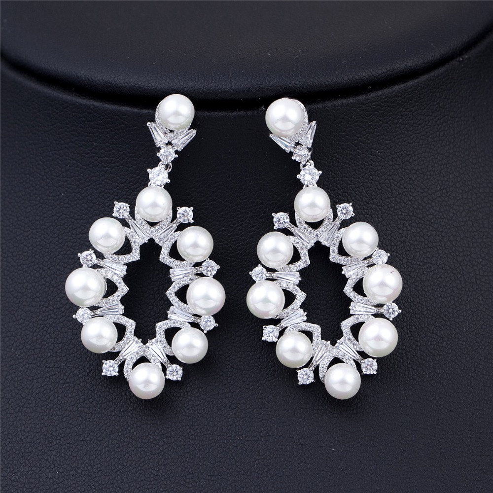 Fashion Accessories Vintage Jewelry Micro AAA Cubic Zirconia Long Wedding Dangle Pearl Earrings