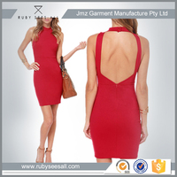 Sexy style bright red color backless prom dress for women