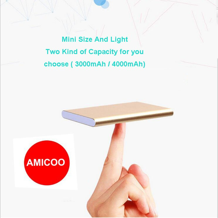 Cheap gift set customized logo ultra thin super slim portable mobile manual 4000mah li-polymer battery power bank for smartphone