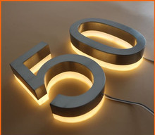 illuminated backlit house numbers, led brushed stainless steel number sign, lead numbers and letters