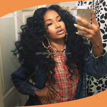 Most popular high density natural color big curl 200% hair density brazilian virgin raw hair full lace wig