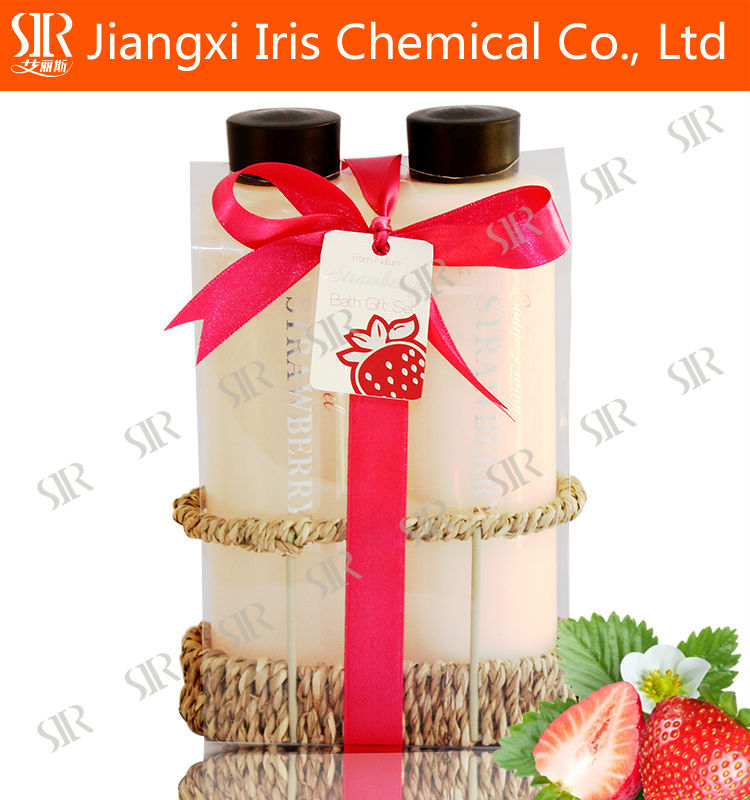 400 ML shower gel, bath gift set with strawberry flavor for christmas