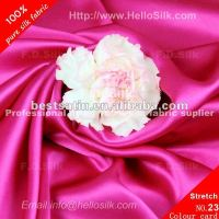F.D.Dyed raw silk spandex satin material