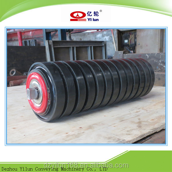 Rubber ring conveyor impact rollers for conveyor equipment