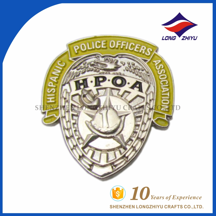 High quality 3D metal button pin art with logo for police