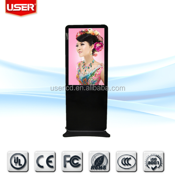 Free standing airport 65 supper thin digital signage tft vertical screen