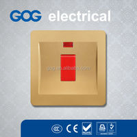 high quality electrical wall switch and socket double pole 20A switch with neon light electric water heater switch