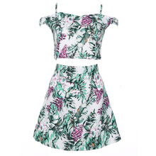 New Design Summer Elegant 2 pieces floral strap Ladies Suit
