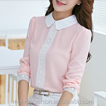 monroo Women Tops Autumn Peter Pan Collar Chiffon Long Sleeve Blouse Women Lace Crochet Top Blouses White&Pink Women Shirts