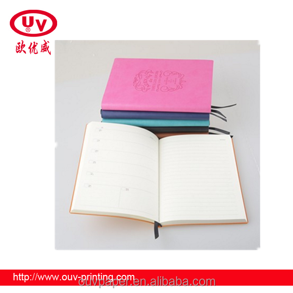 Top quality customized embossing PU leather cover bound notebook