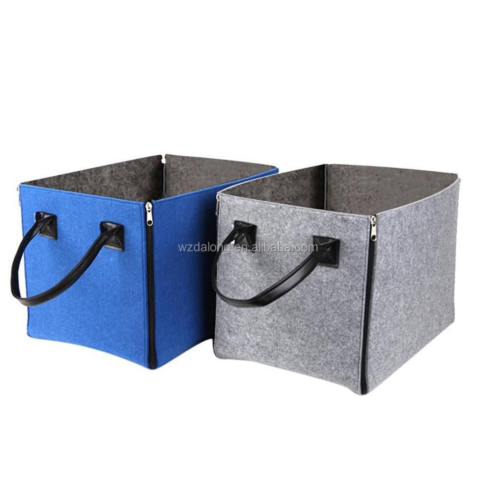 Portable Storage Bin Origanizer,Foldable Felt Cube Storage Bucket Hamper for Office,Bedroom,Closet,Toys,Laundry Kids
