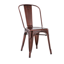 space saving home furniture Bistro PU Leather Seat Modern Leather Metal Chairs