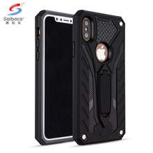 Bulk cheap black tpu pc hybrid case for iphone 8 with kickstand