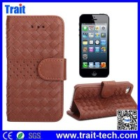 Flip Stand Classic Woven Texture Pattern Leather Case for iPhone 5 5S with Card Slots ,magnet leather flip case for iphone 5